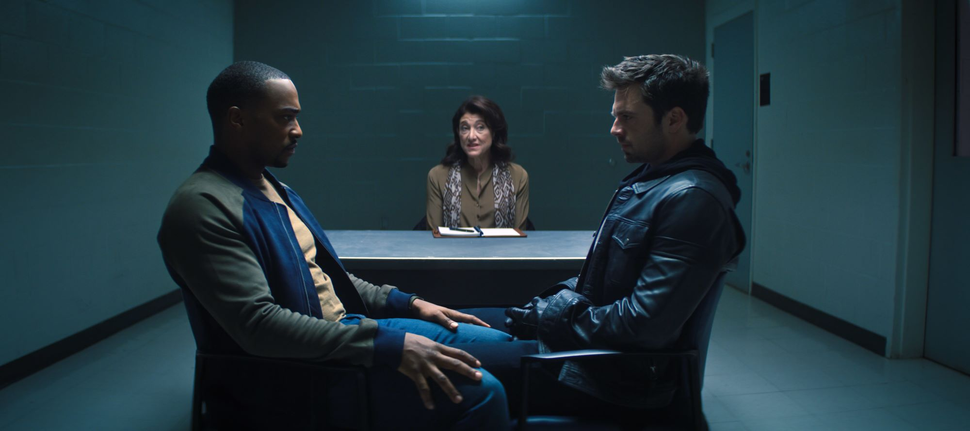 Anthony Mackie, Amy Aquino, and Sebastian Stan in 'The Falcon and the Winter Soldier'