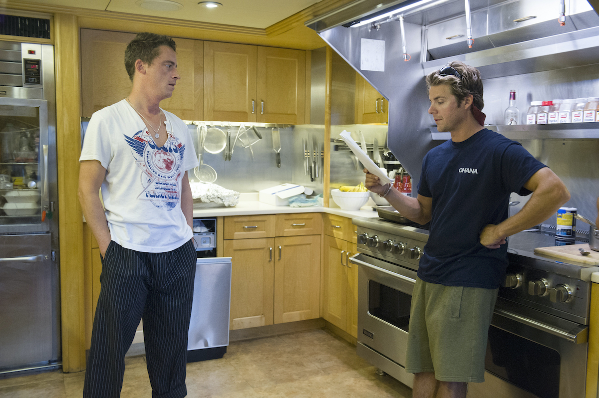 Ben Robinson, Eddie Lucas in the galley kitchen before Robinson becomes upset.