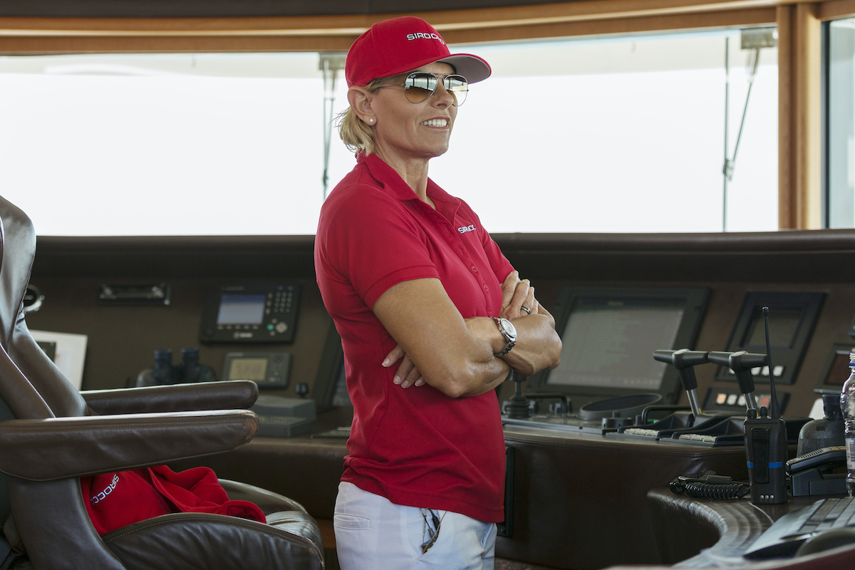 Captain Sandy Yawn at the helm of Sirocco