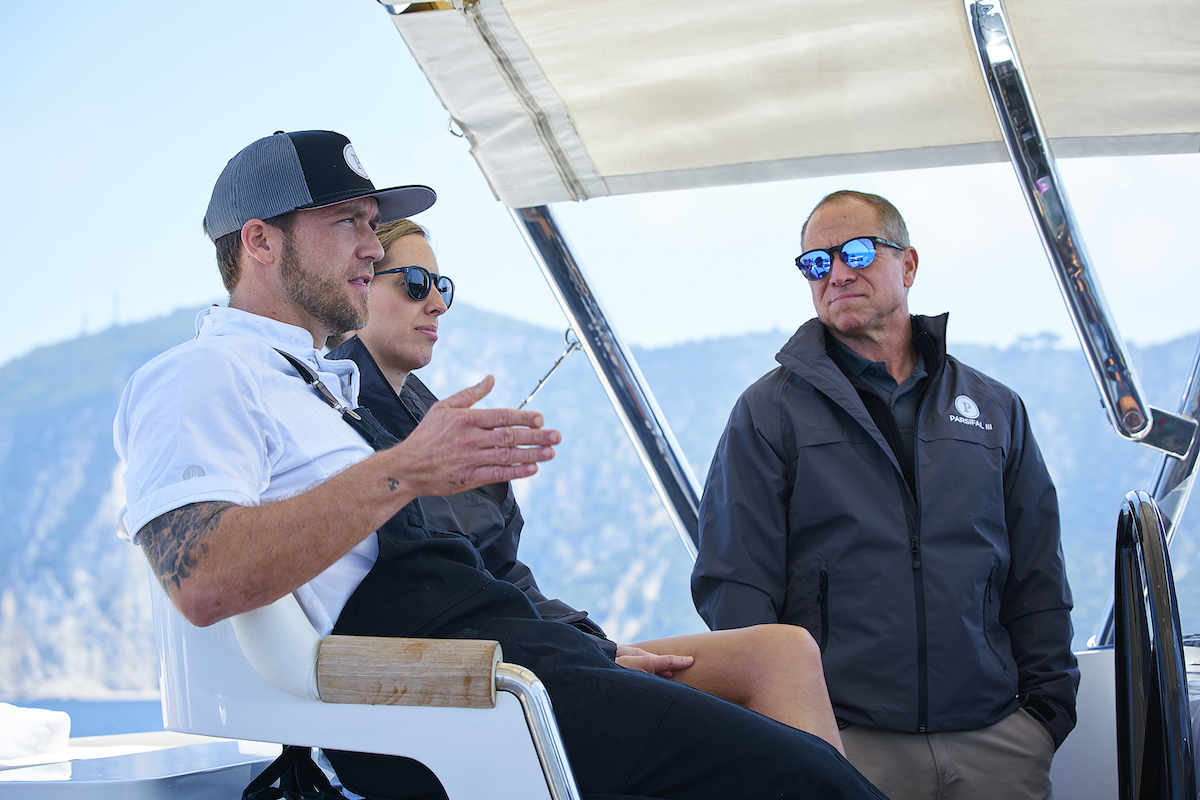 Adam Glick, Jenna MacGillivray, Captain Glenn Shephard discuss the next charter