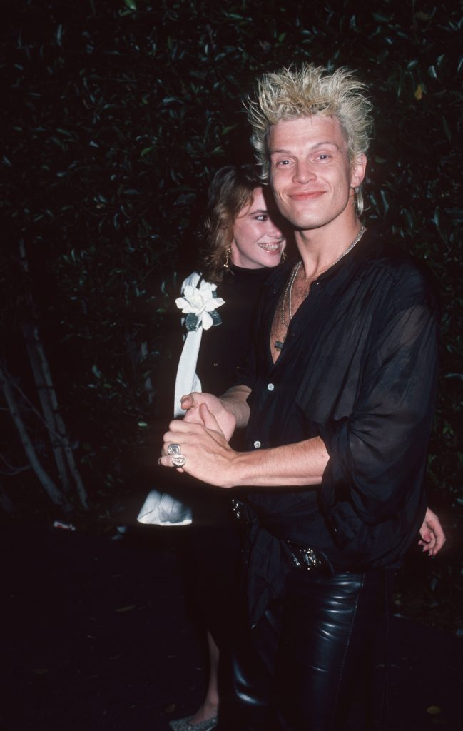 Billy Idol and Melissa Gilbert outside Le Dome Restaurant together in 1986