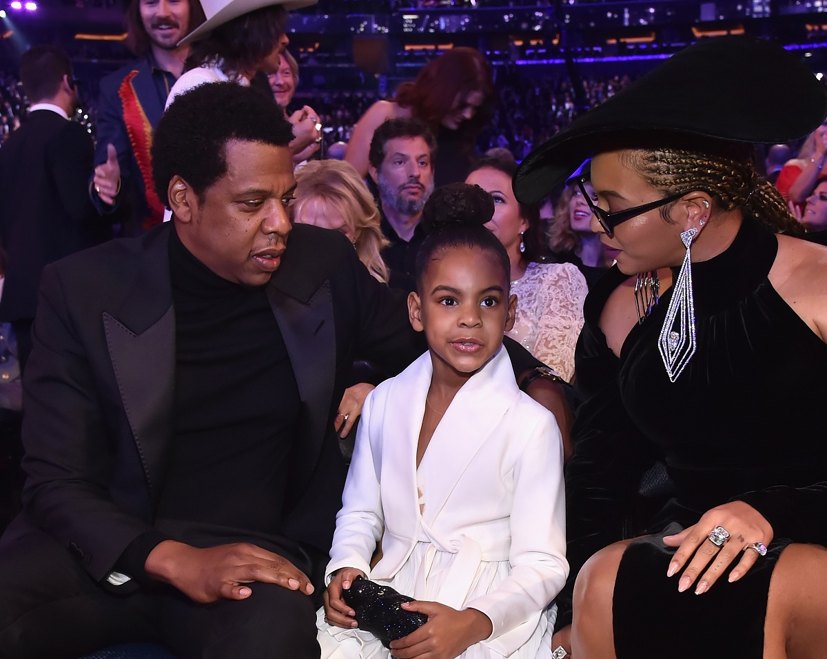 Blue Ivy Carter with Jay-Z and Beyonce at the 2018 Grammys
