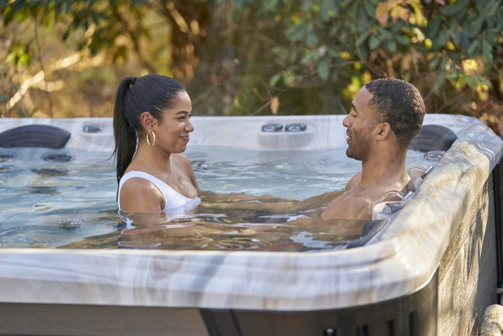 Matt James and Bri Springs in a hot tub together on 'The Bachelor'
