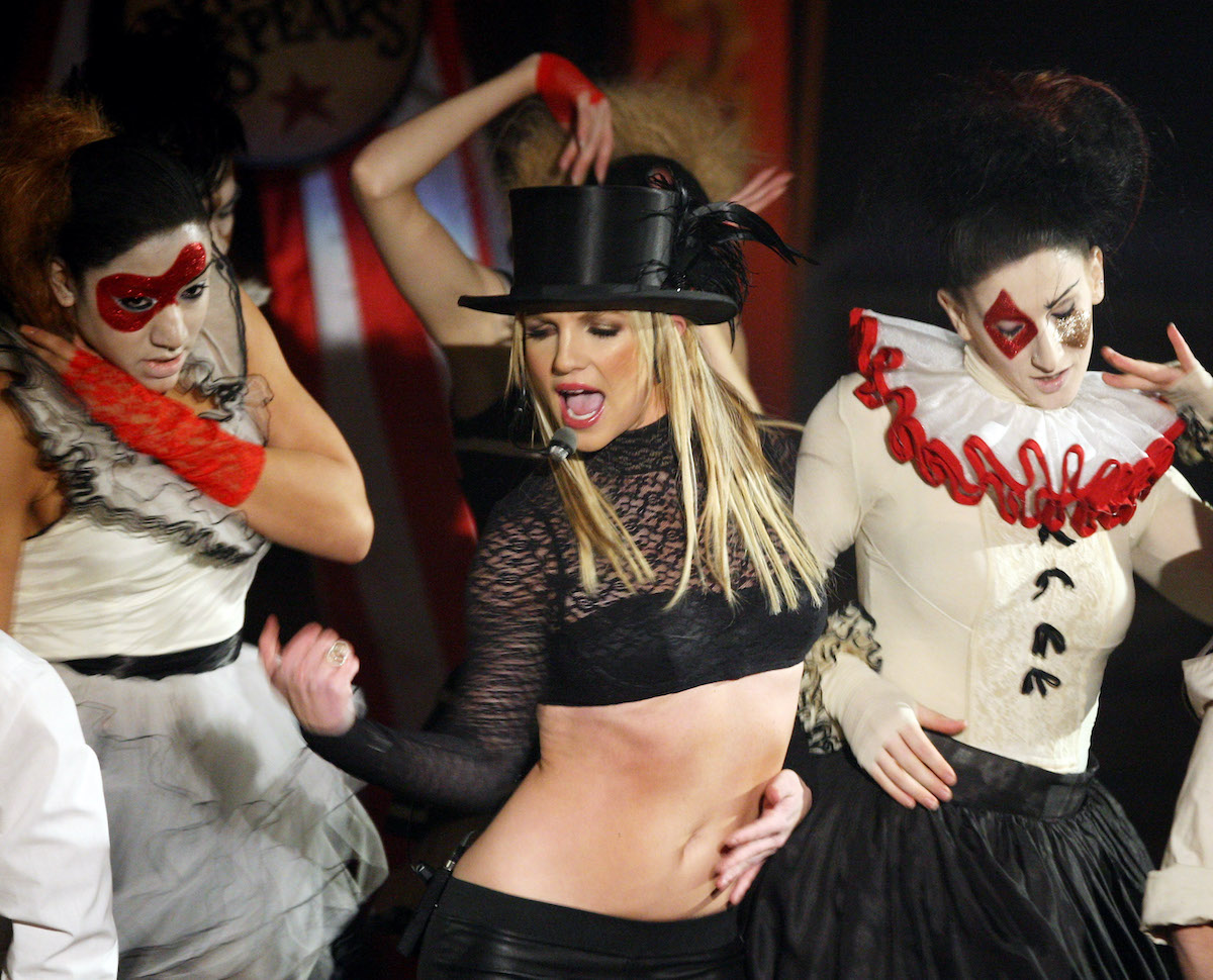 Britney Spears performs on Good Morning America in 2008 in New York City