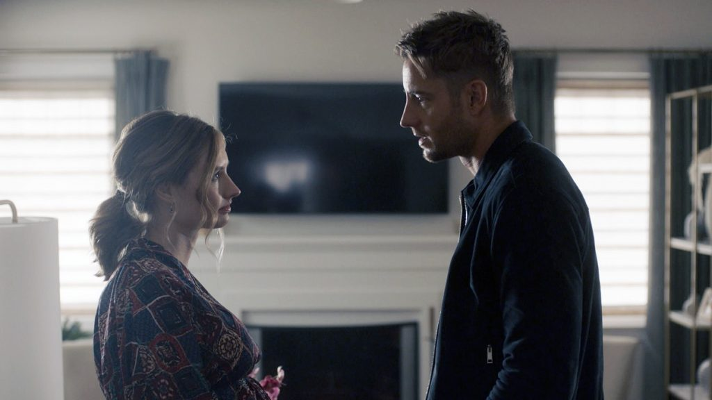 Caitlin Thompson and Justin Hartley on set of This Is Us Season 5