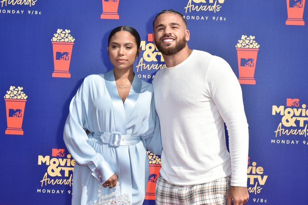 Cheyenne Floyd and Cory Wharton from MTV's 'The Challenge' standing together at the 2019 MTV Movie & TV Awards