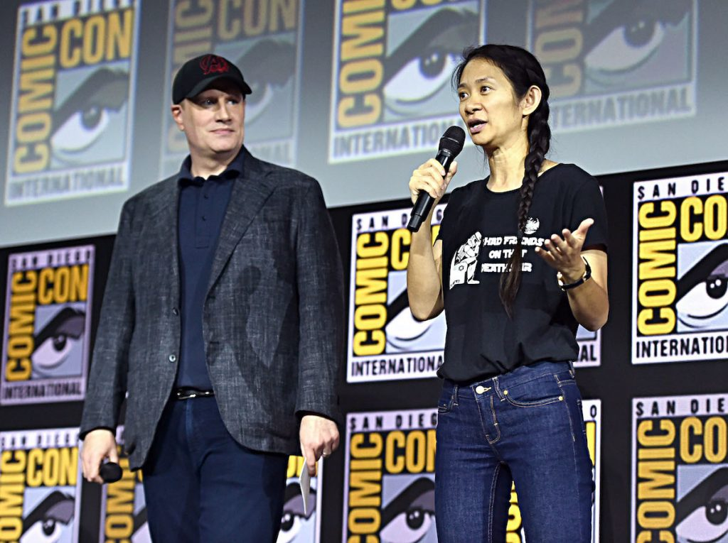 President of Marvel Studios Kevin Feige and director Chloé Zhao of 'The Eternals' at the San Diego Comic-Con in 2019 | Alberto E. Rodriguez/Getty Images for Disney