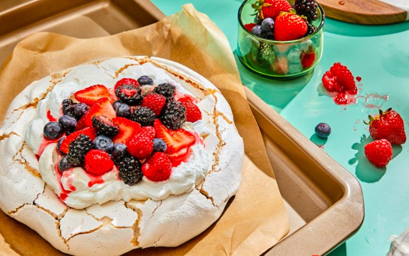 Picture of Chrissy Teigen's Berry Pavlova dessert from her Cravings website