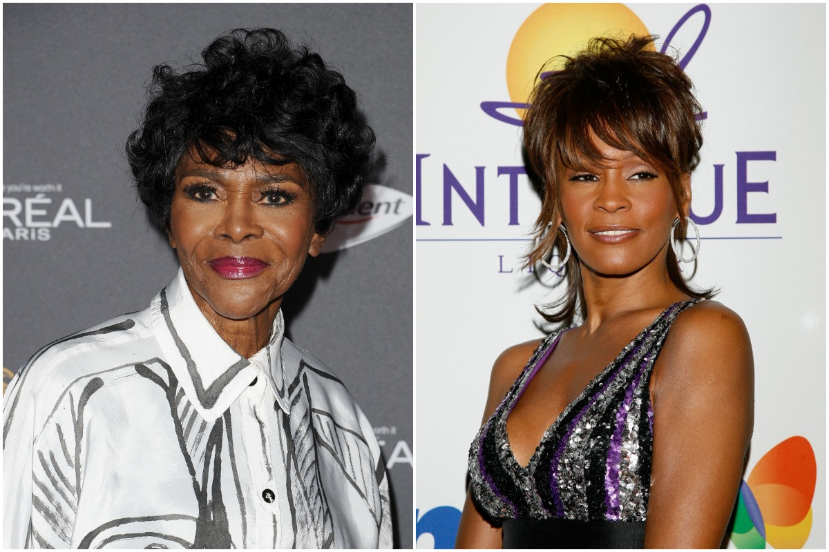 Cicely Tyson posing at an event/ Whitney Houston smiling at the Legendary Clive Davis Pre-Grammy Party.