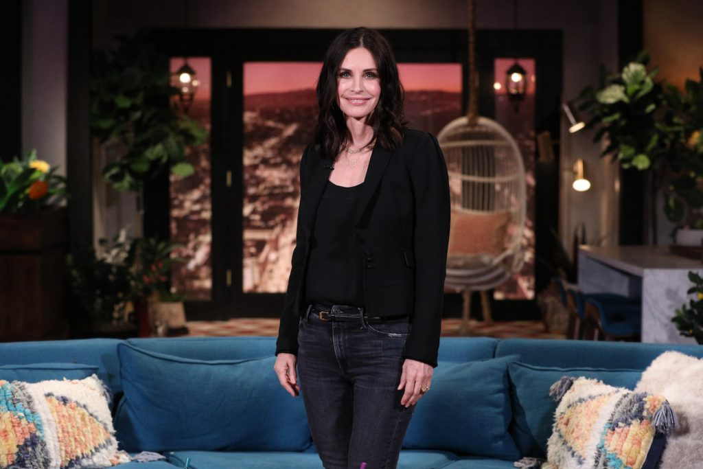 'Friends' alum Courteney Cox on the set of 'Busy Tonight'