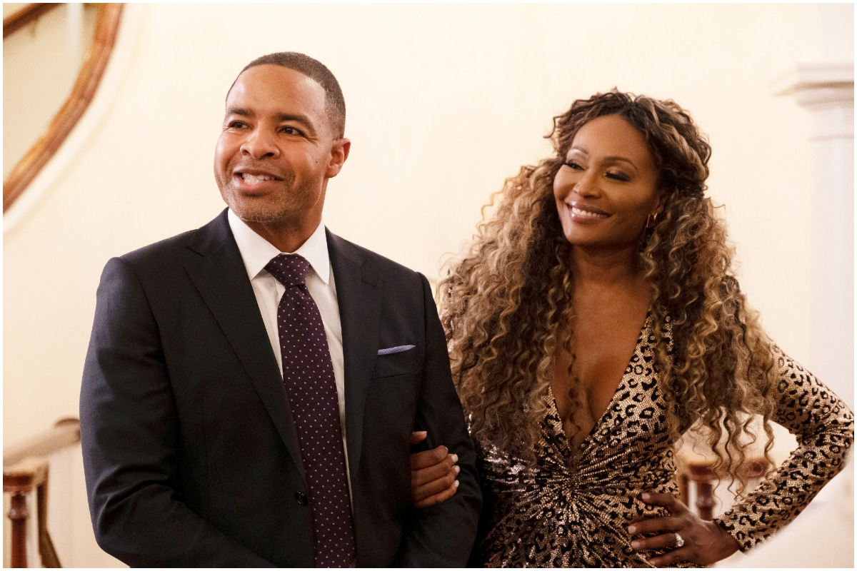Cynthia Bailey and Mike Hill on the set of 'RHOA'