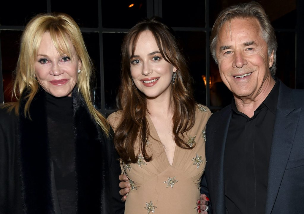 Melanie Griffith, Dakota Johnson, and Don Johnson smile at the after party for the 'How To Be Single' premiere in NYC on February 3, 2016