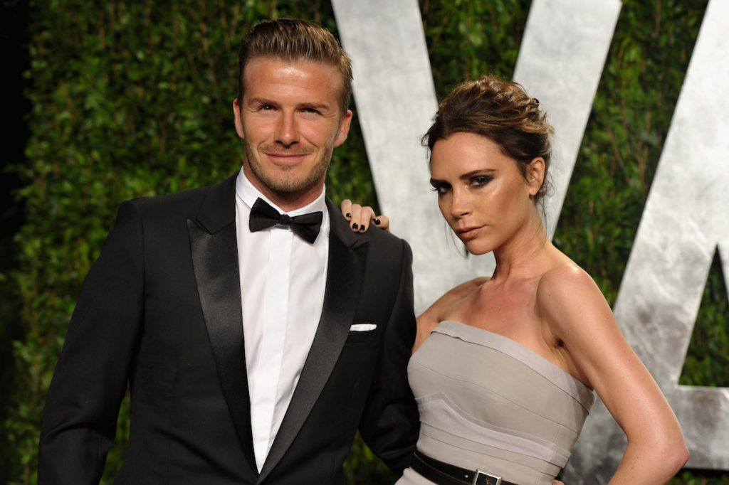David and Victoria Beckham arrive at the 2012 Vanity Fair Oscar Party hosted by Graydon Carter at Sunset Tower on February 26, 2012 in West Hollywood, California.