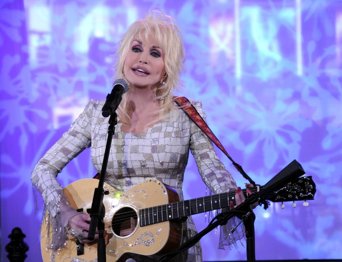 Dolly Parton playing guitar on 'Good Morning America.'