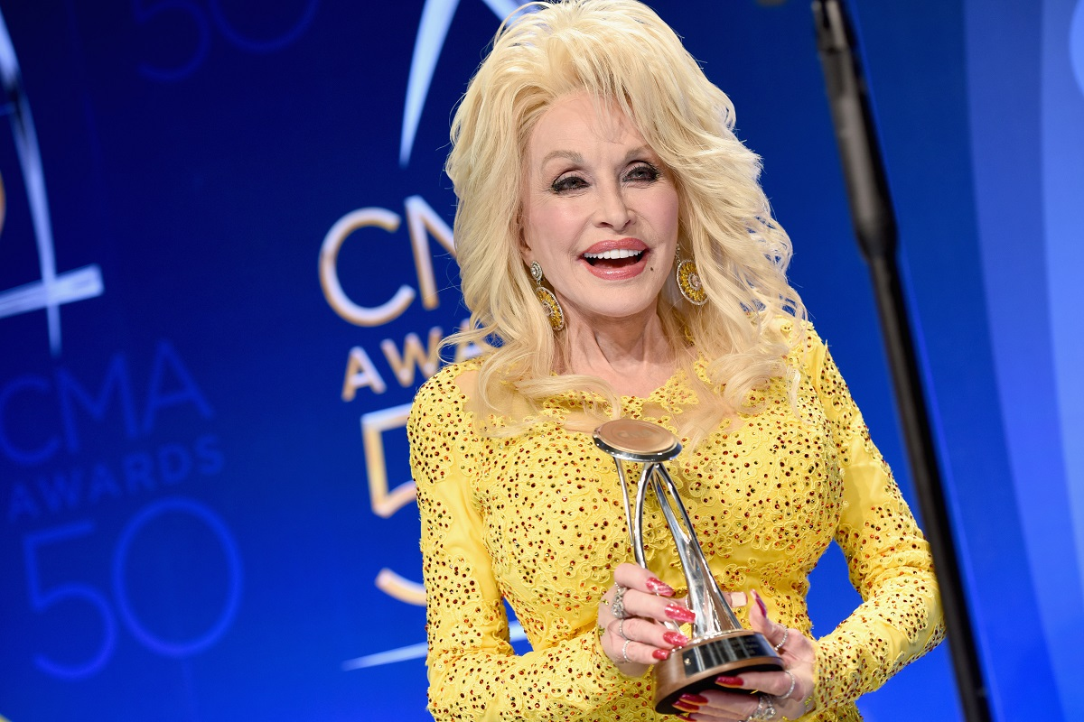 Dolly Parton poses with award backstage during the 50th annual CMA Awards at the Bridgestone Arena on November 2, 2016 in Nashville, Tennessee