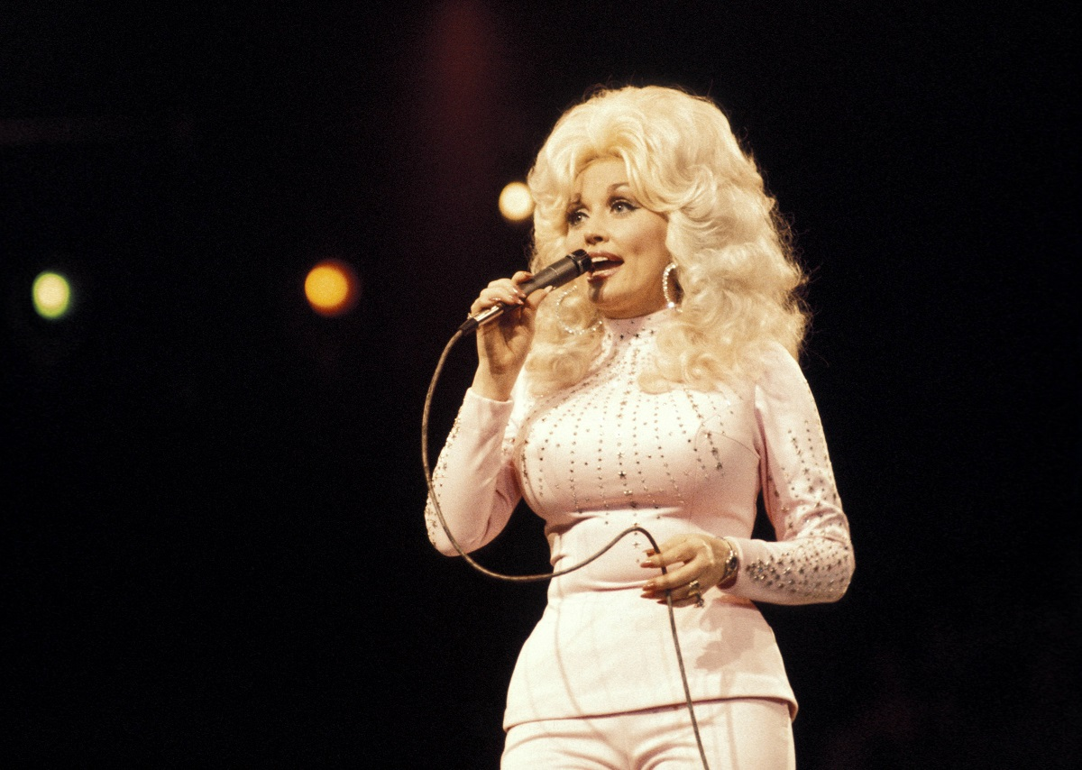 Dolly Parton performing at the UK Country Music Festival
