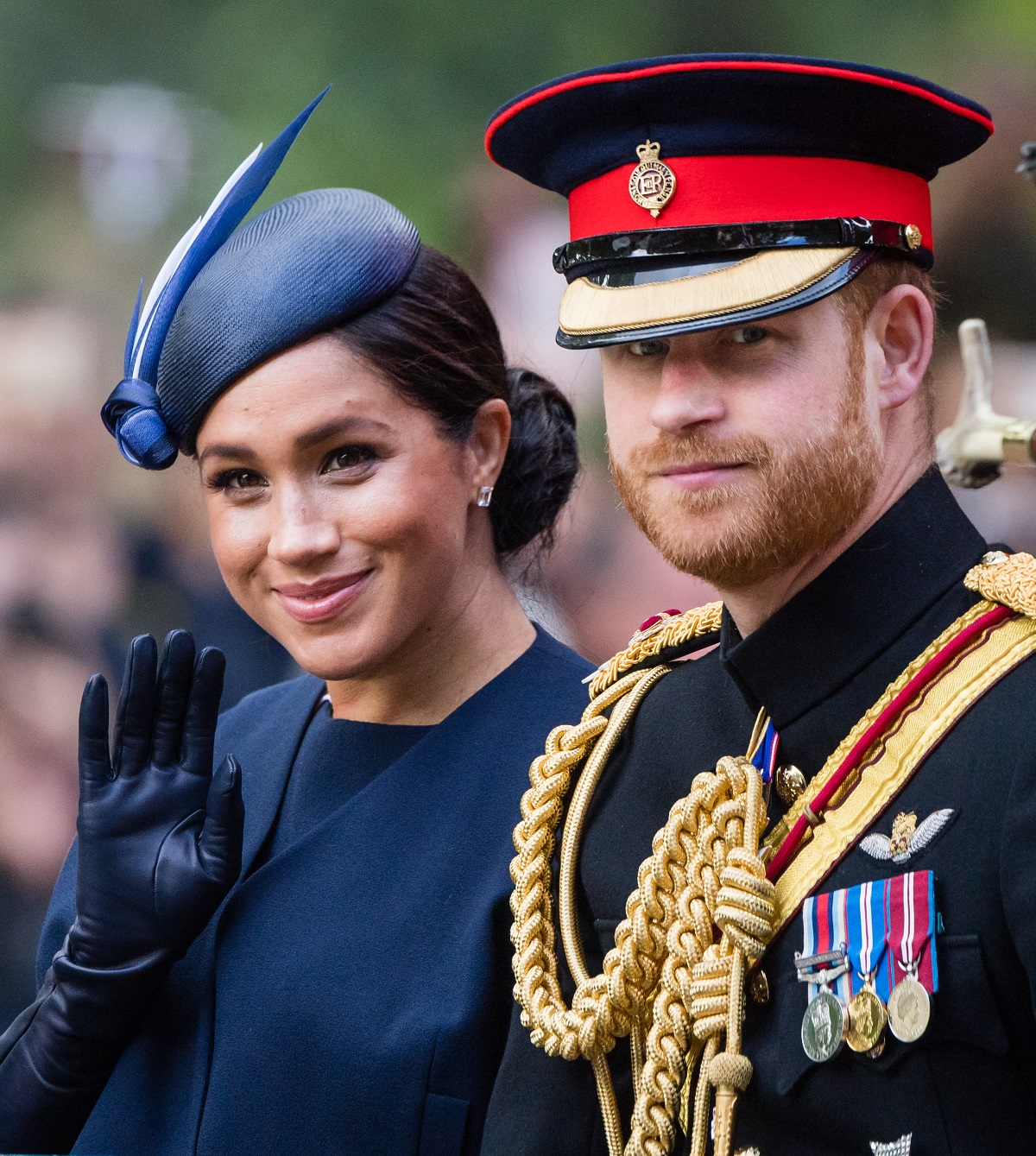 Prince Harry, Duke of Sussex and Meghan, Duchess of Sussex, ride by carriage down the Mall during Trooping The Colour, the Queen's annual birthday parade, on June 08, 2019 in London, England