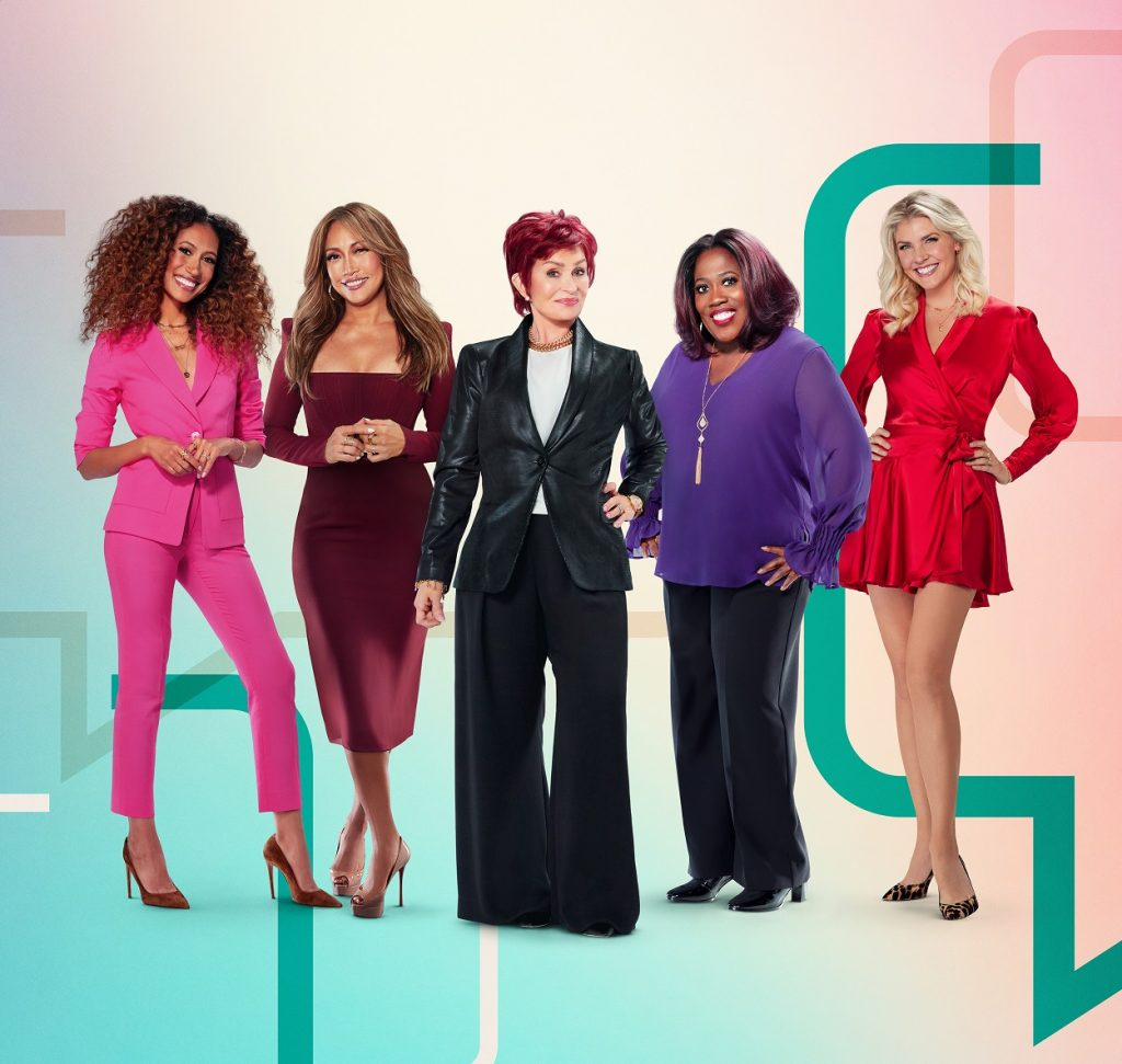 The Talk co-hosts Elaine Welteroth, Carrie Ann Inaba, Sharon Osbourne, Sheryl Underwood, and Amanda Kloots shoot promos
