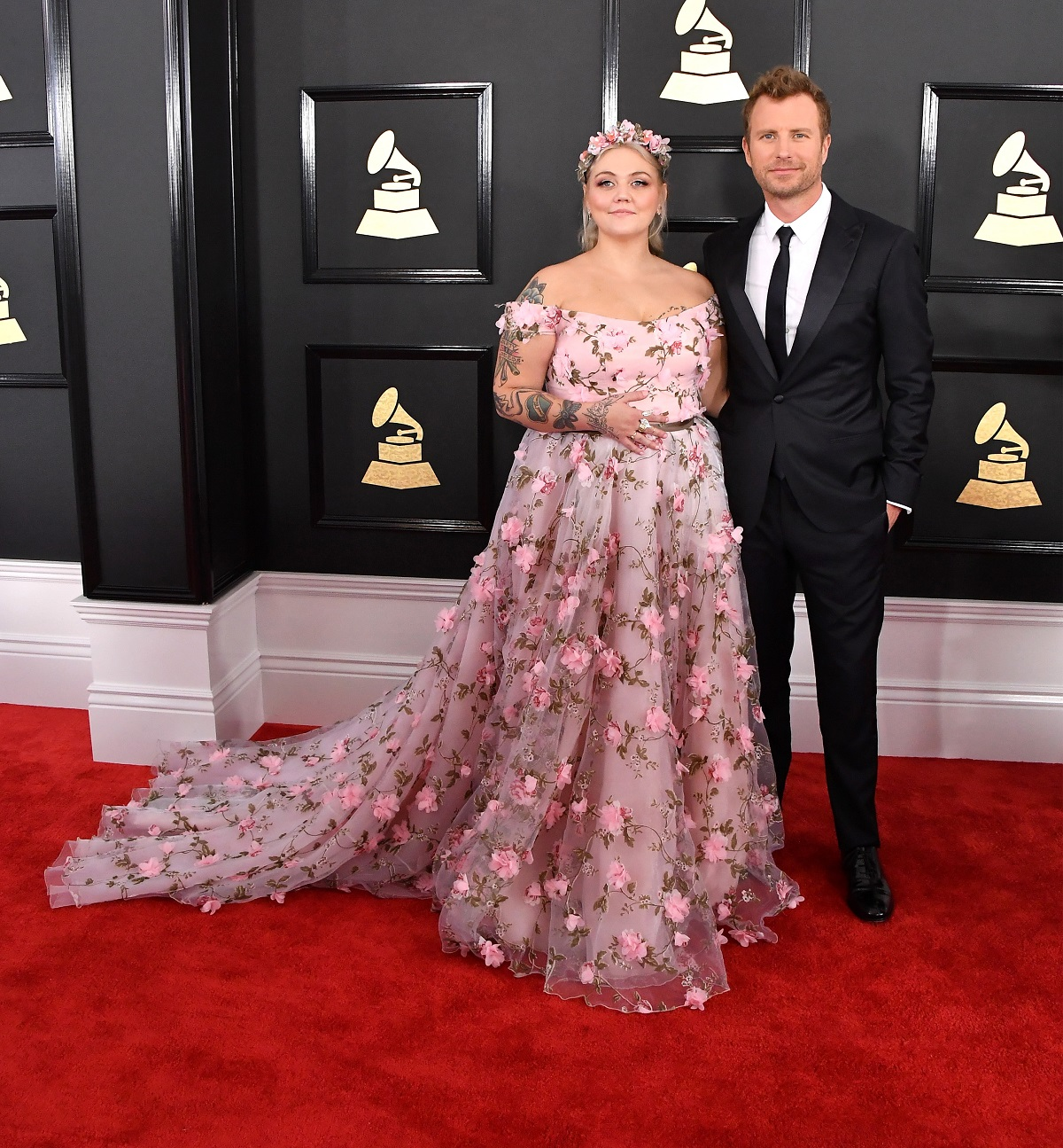 Elle King, in a Lirika Matoshi floral gown, and Dierks Bentley on the red carpet at the 2017 Grammys