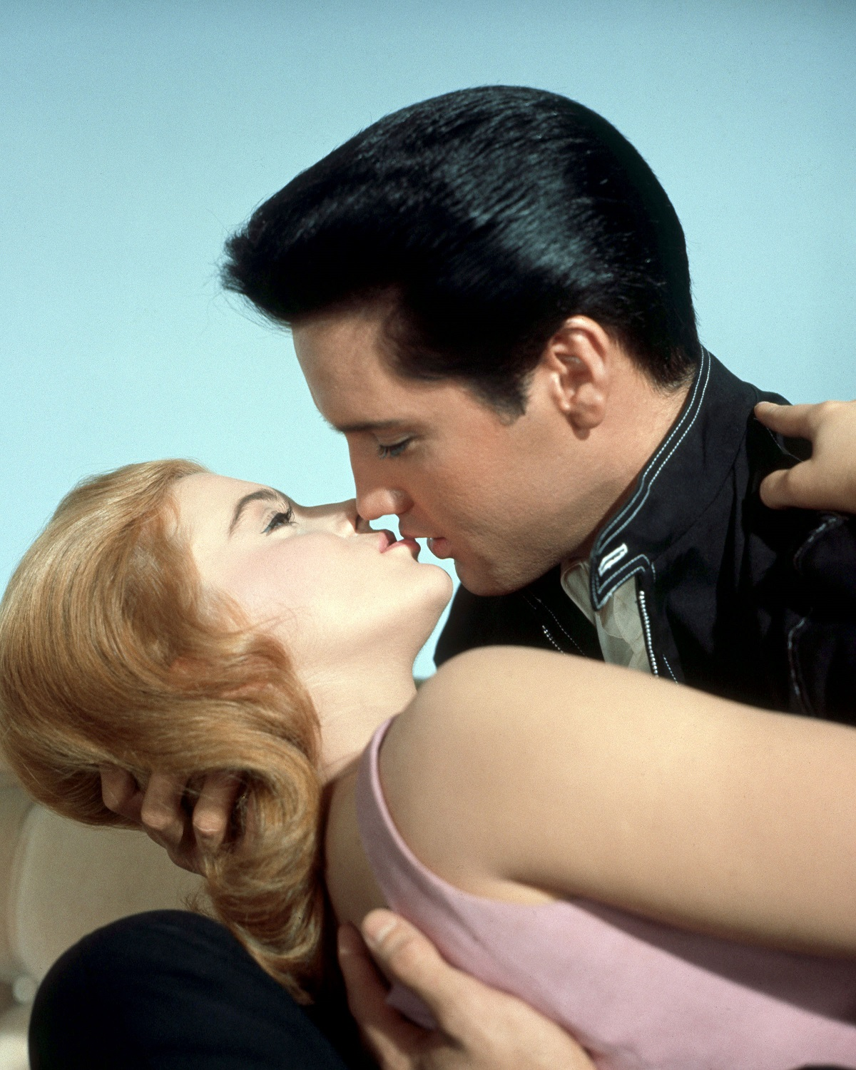 Elvis Presley as Lucky Jackson and Ann-Margret as Rusty Martin in the film 'Viva Las Vegas', 1964 - kissing up-close