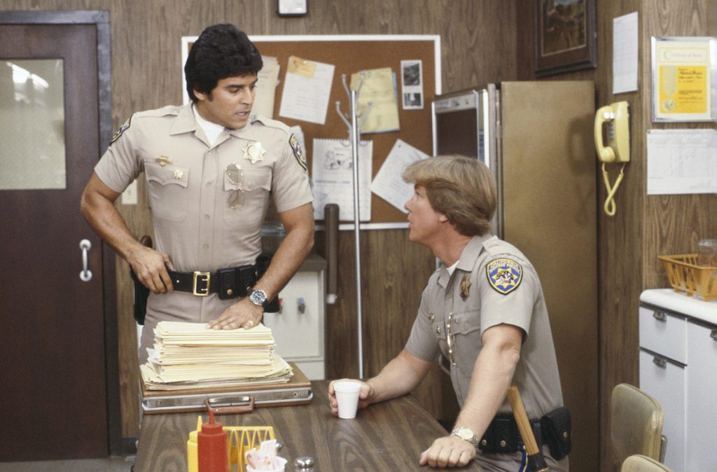 Erik Estrada as Officer Frank 'Ponch' Poncherello and Larry Wilcox as Officer Jon Baker on the TV show 'CHiPs'