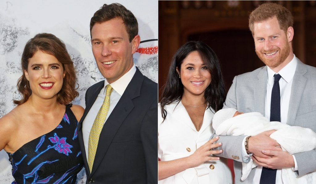 Princess Eugenie and Jack Brooksbank (L), and Meghan, Duchess of Sussex, Prince Harry, Duke of Sussex, and Archie Harrison Mountbatten-Windsor (R) | David M. Benett/Dominic Lipinski/Getty Images