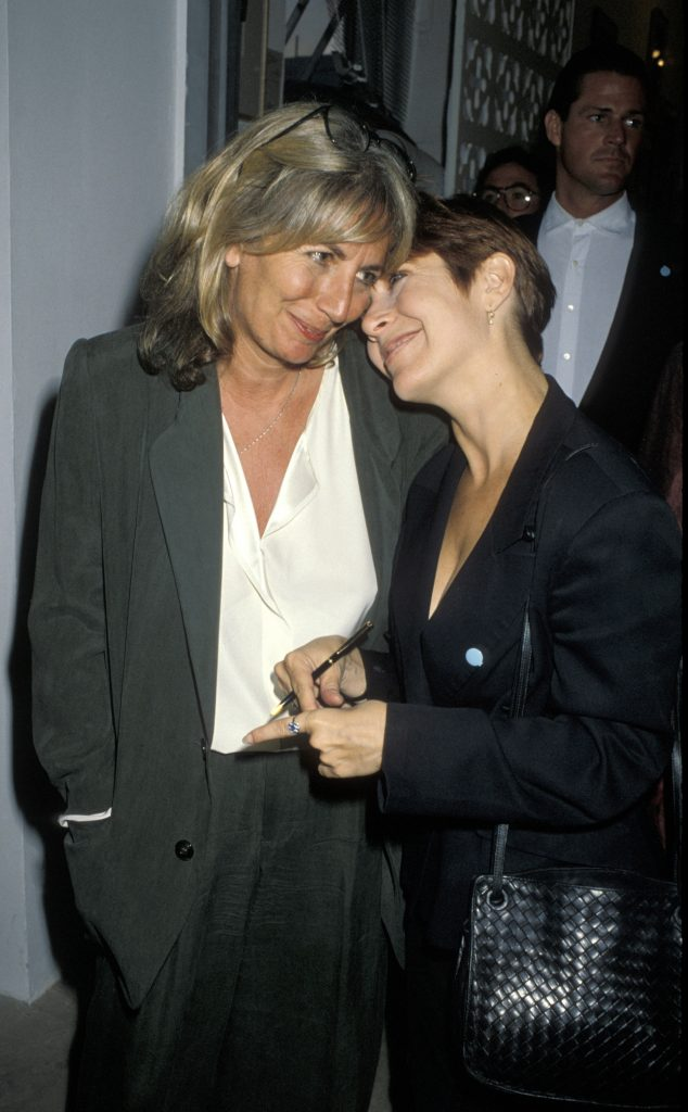 """(L to R): Actors and friends Penny Marshall and Carrie Fisher attend """"Angel Art"""" Auction to Benefit Project Angel"""