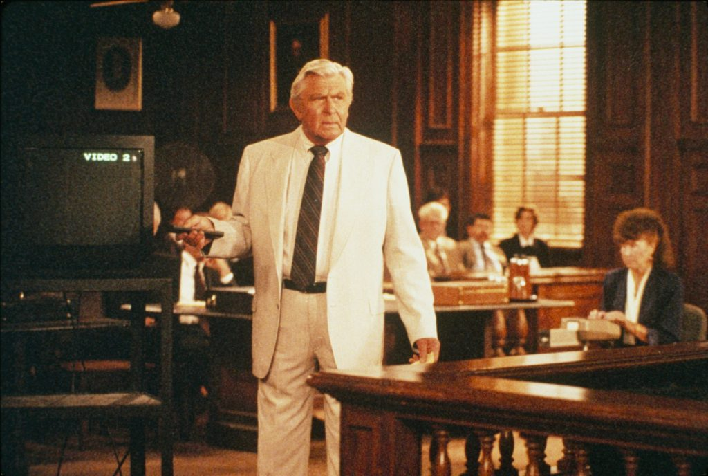 Andy Griffith is pictured addressing a courtroom as defense attorney Ben Matlock in a scene from 'Matlock', 1994