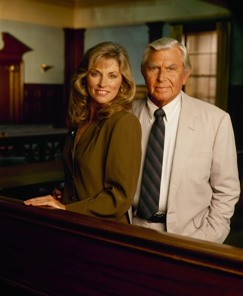 Brynn Thayer as Ben Matlock's daughter Leanne McIntyre, left, and Andy Griffith as Ben Matlock pose for a photo, 1993