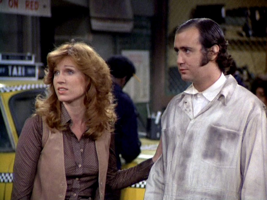 (L to R): Marilu Henner and Andy Kaufman in a scene from the sitcom 'Taxi,' 1978