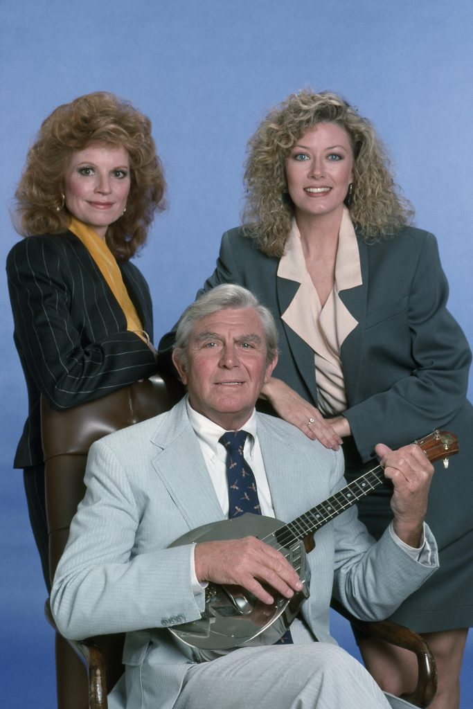 'Matlock' cast photo featuring Julie Sommars as A.D.A. Julie March, Andy Griffith as Ben Matlock, and Nancy Stafford as Atty. Michelle Thomas
