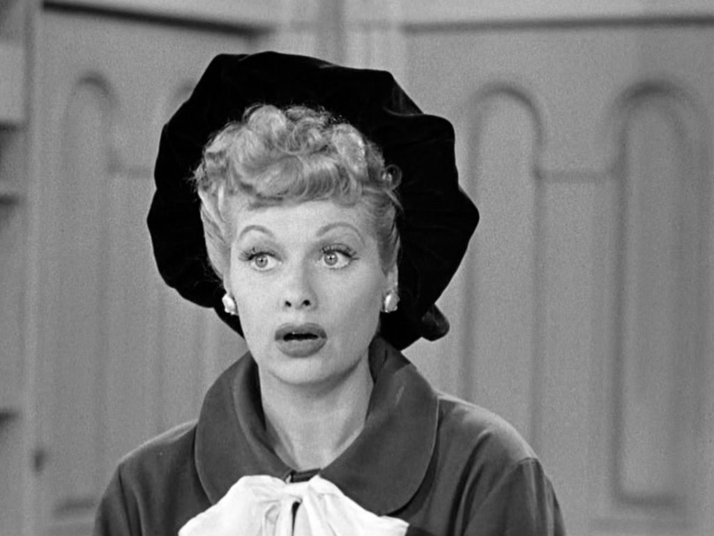 Lucille Ball is dressed in artist's garb in an episode of 'I Love Lucy', 1953