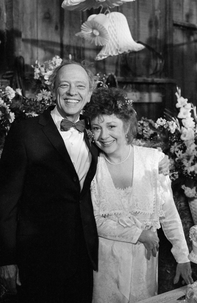 Don Knotts, left, as Barney Fife and Betty Lynn as his bride Thelma Lou in a scene from 'Return to Mayberry,'
