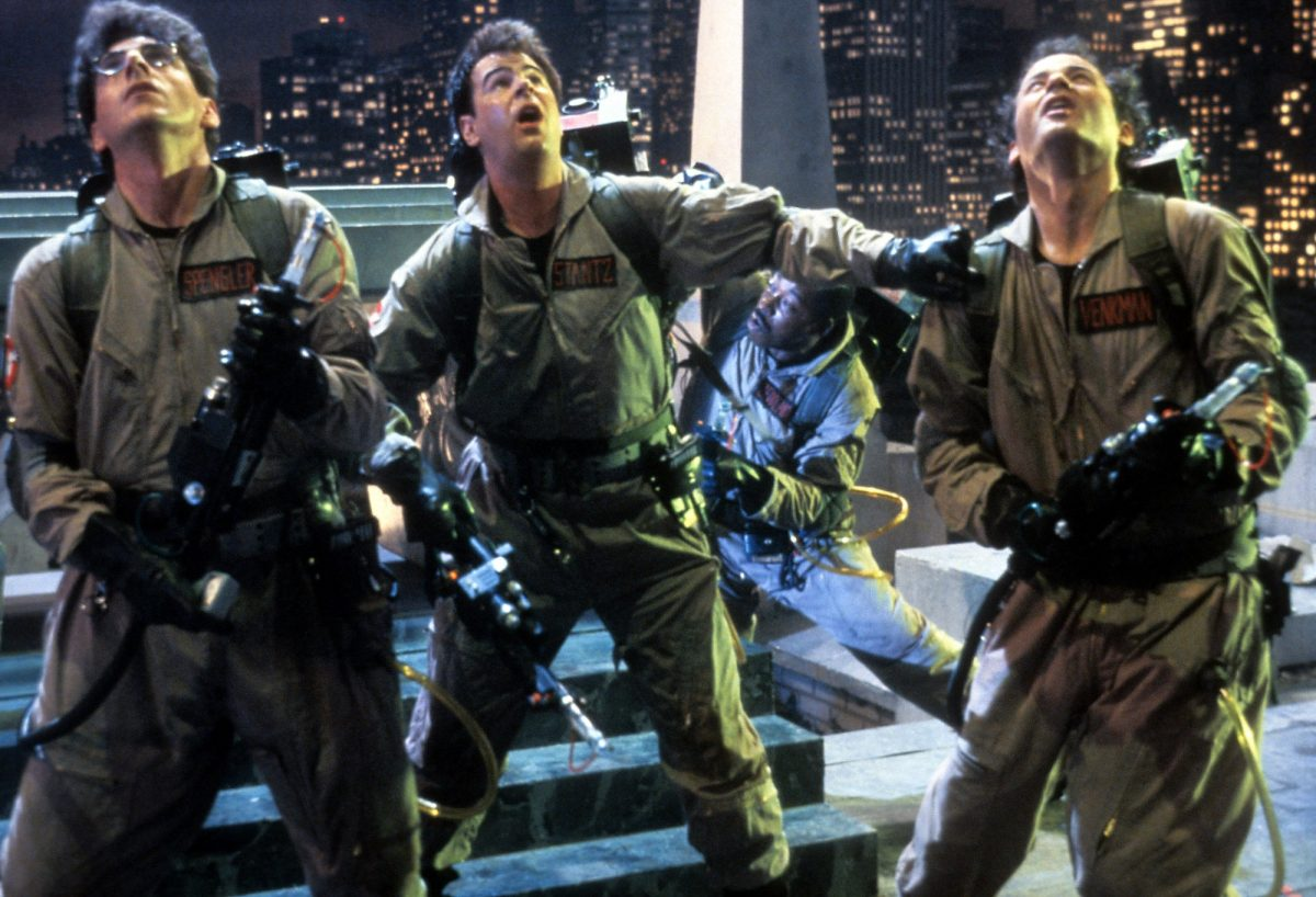 Ghostbusters on the roof battling Gozer