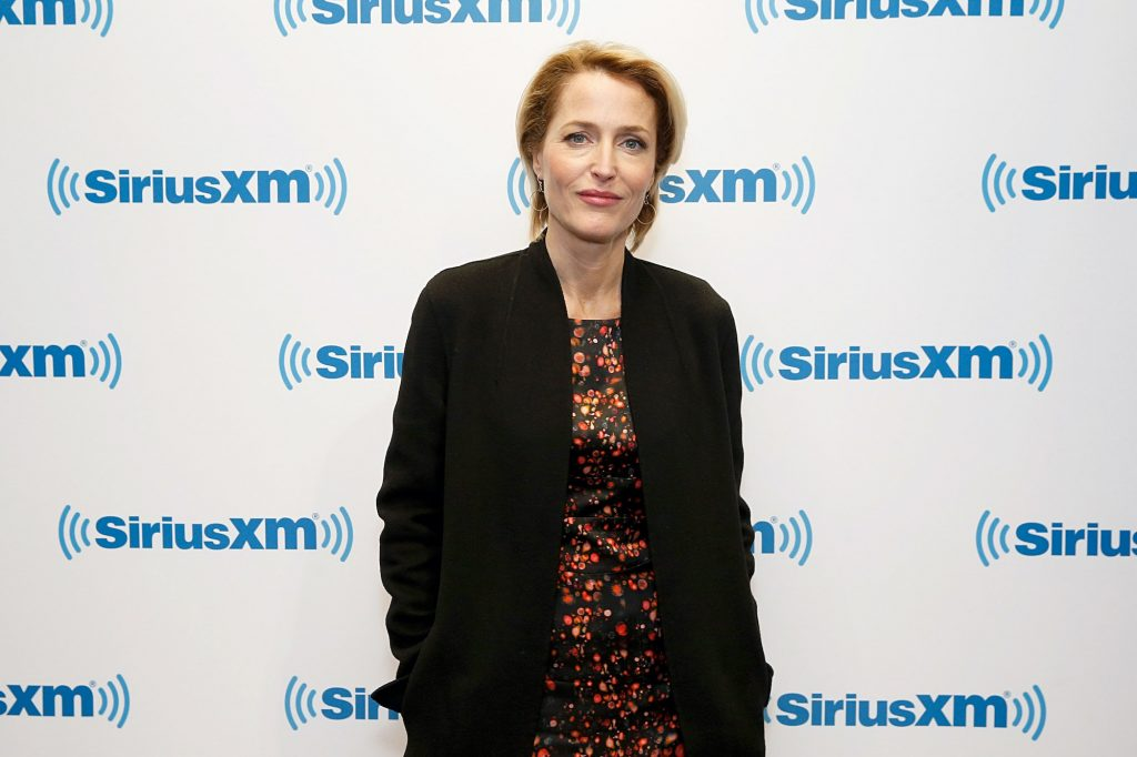 Gillian Anderson smiling in front of a white background