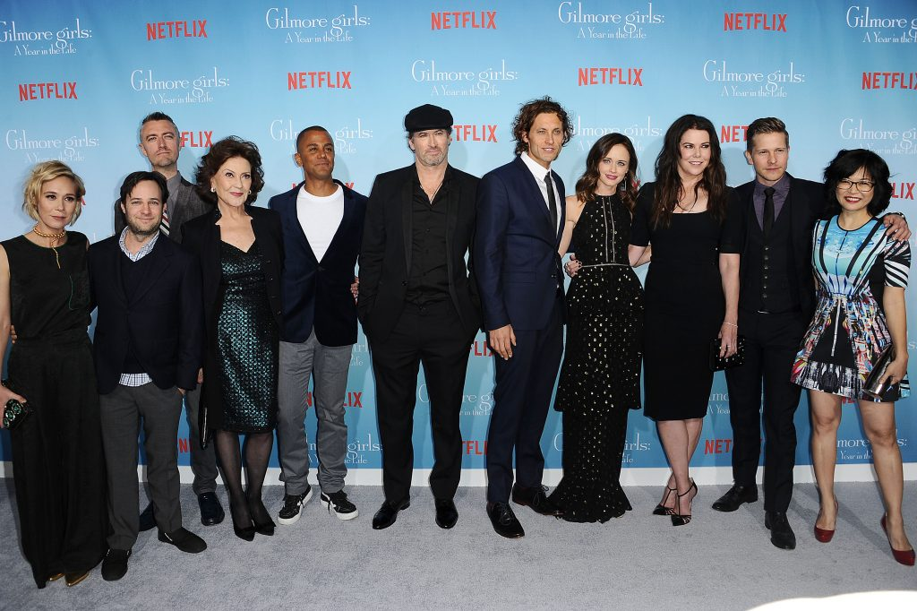 "Liza Well, Danny Strong, Sean Gunn, Kelly Bishop, Yanic Truesdale, Scott Patterson, Tanc Sade, Alexis Bledel, Lauren Graham, Matt Czuchry and Keiko Agena attend the premiere of ""Gilmore Girls: A Year in the Life"" at Regency Bruin Theatre on November 18, 2016"