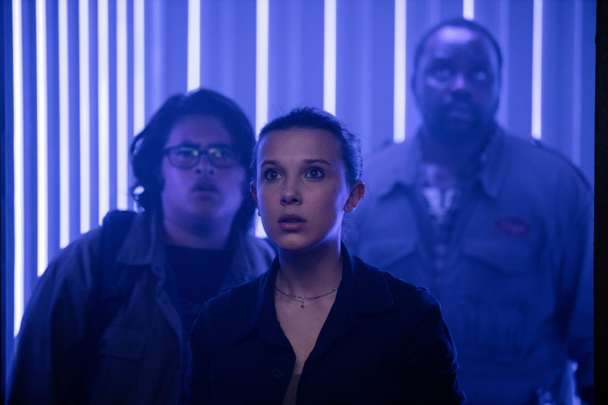 Godzilla vs. Kong stars Millie Bobby Brown, Brian Tyree Henry and Julian Dennison in a scientific facility