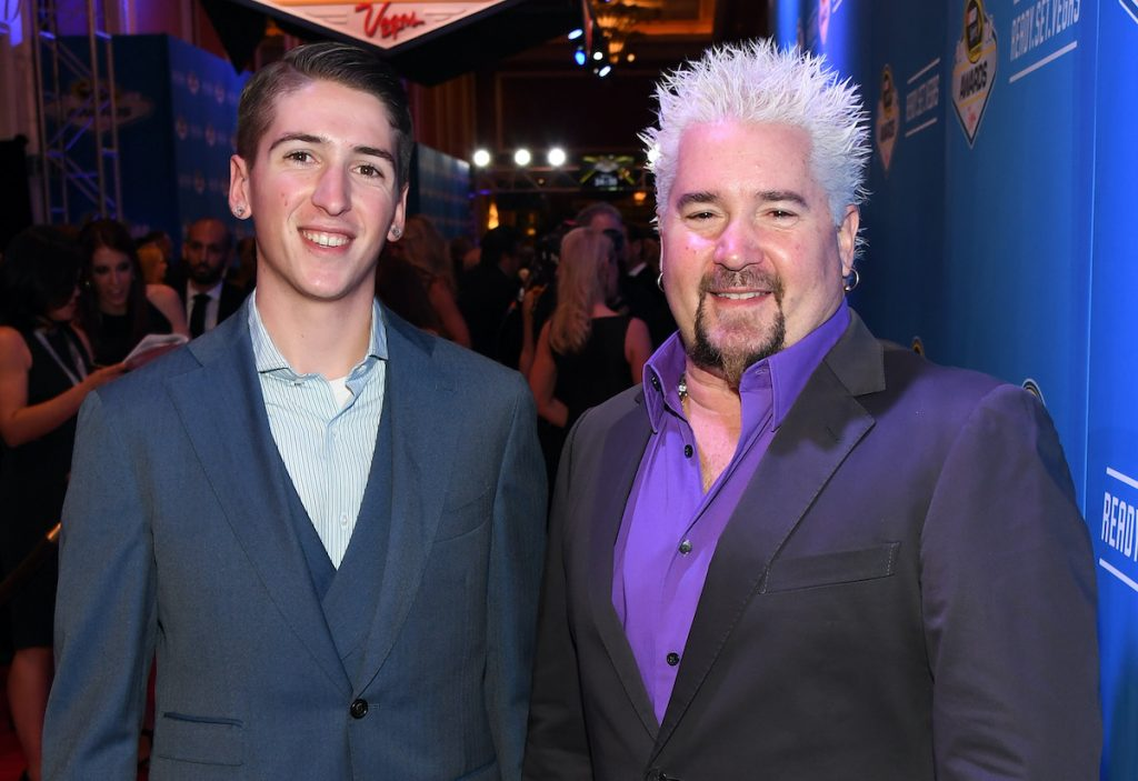 Guy Fieri and his son, Hunter, at the NASCAR Sprint Cup Series Awards in 2016