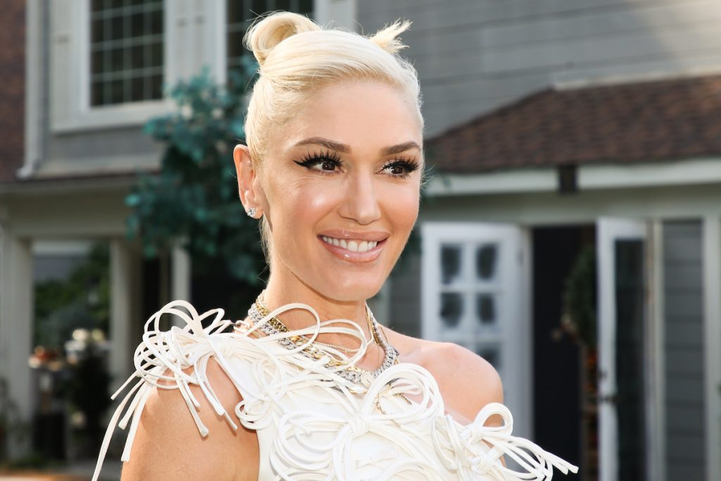 """Gwen Stefani visits Hallmark Channel's """"Home & Family"""" smiling in a white feather dress"""