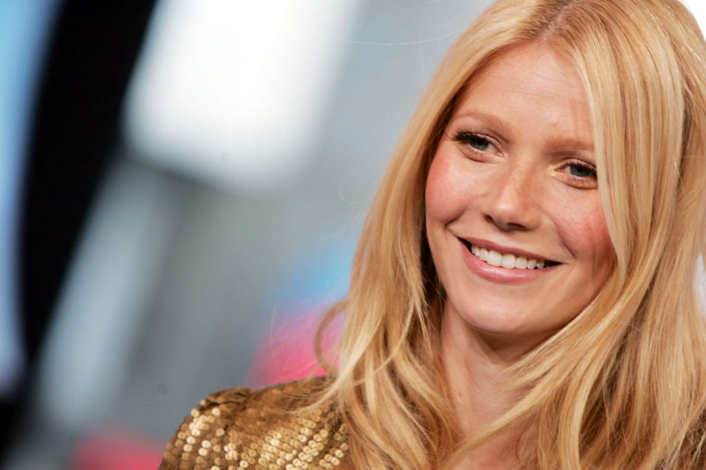 Actor Gwyneth Paltrow appears on stage during MTV's Total Request Live at the MTV Times Square Studios September 16, 2004 in New York City.