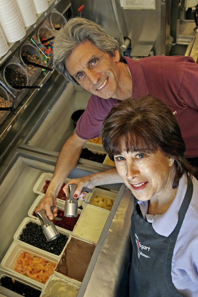 Humphrey Yogart owners Jim and Paula Sheftel show off the toppings at the original Sherman Oaks location