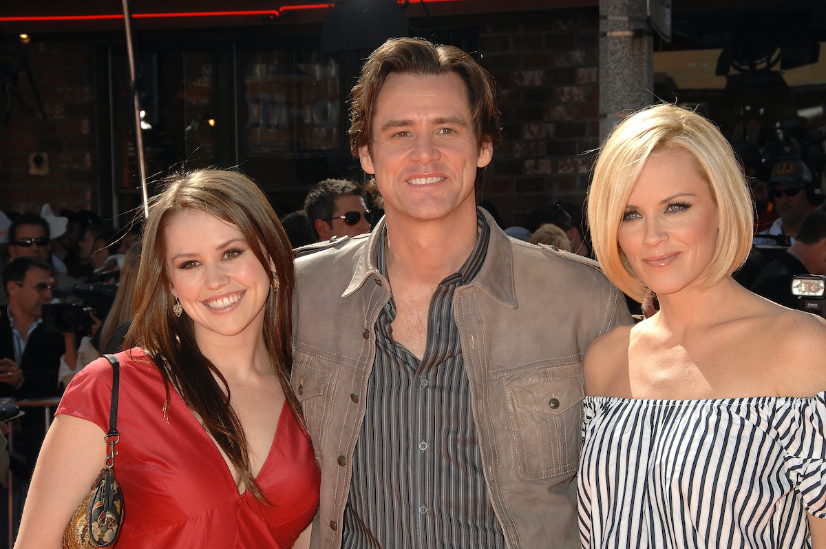 Jim Carrey with his daughter Jane and Jenny McCarthy at 'Horton Hears A Who' premiere