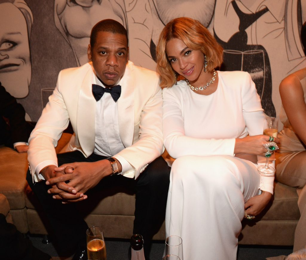 Jay-Z and Beyoncé attends the 2015 Vanity Fair Oscar Party