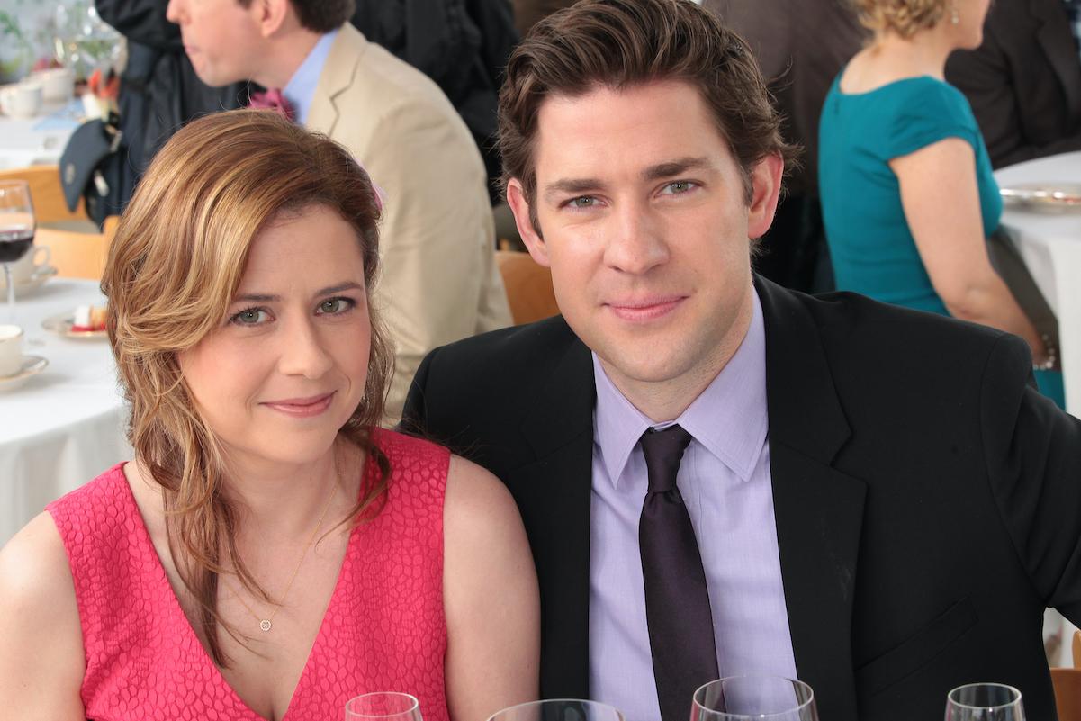 The Office stars John Krasinski and Jenna Fischer on set in 2013