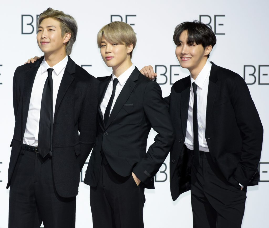 RM, Jimin, and J-Hope of the K-pop boy band, BTS
