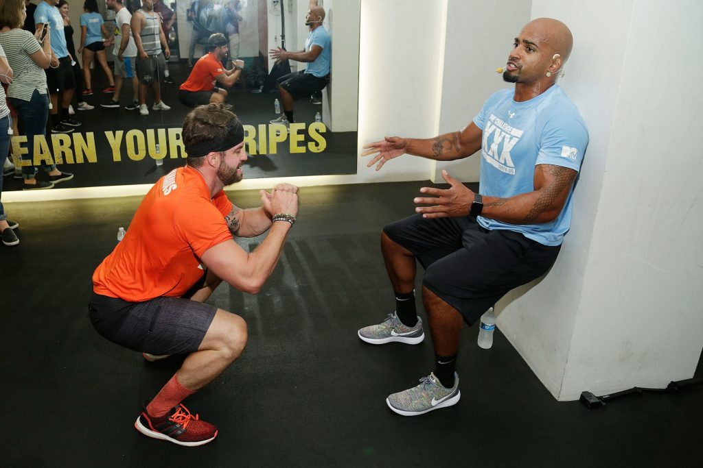 Johnny 'Bananas' Devenanzio and Darrell Taylor from MTV's 'The Challenge' training during 'The Challenge XXX': Ultimate Fan Experience