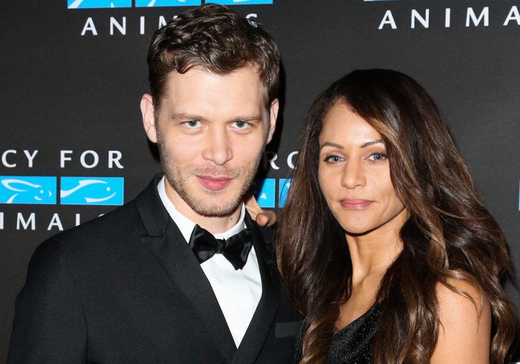 Joseph Morgan and Persia White pose as they arrive at the Mercy For Animals' Annual Hidden Heroes Gala at Vibiana on September 23, 2017