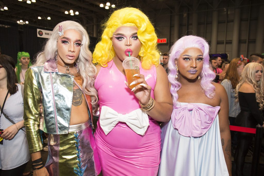 Dahlia Sin, Kandy Muse, and Momo Shade of 'Haus of AJA' attend RuPaul's DragCon NYC