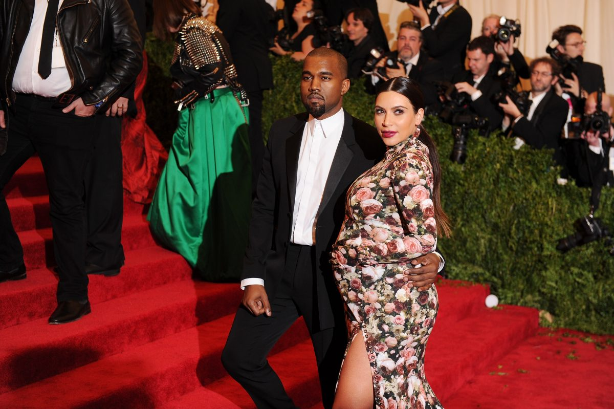 Kanye West and Kim Kardashian West attend the Met Gala.