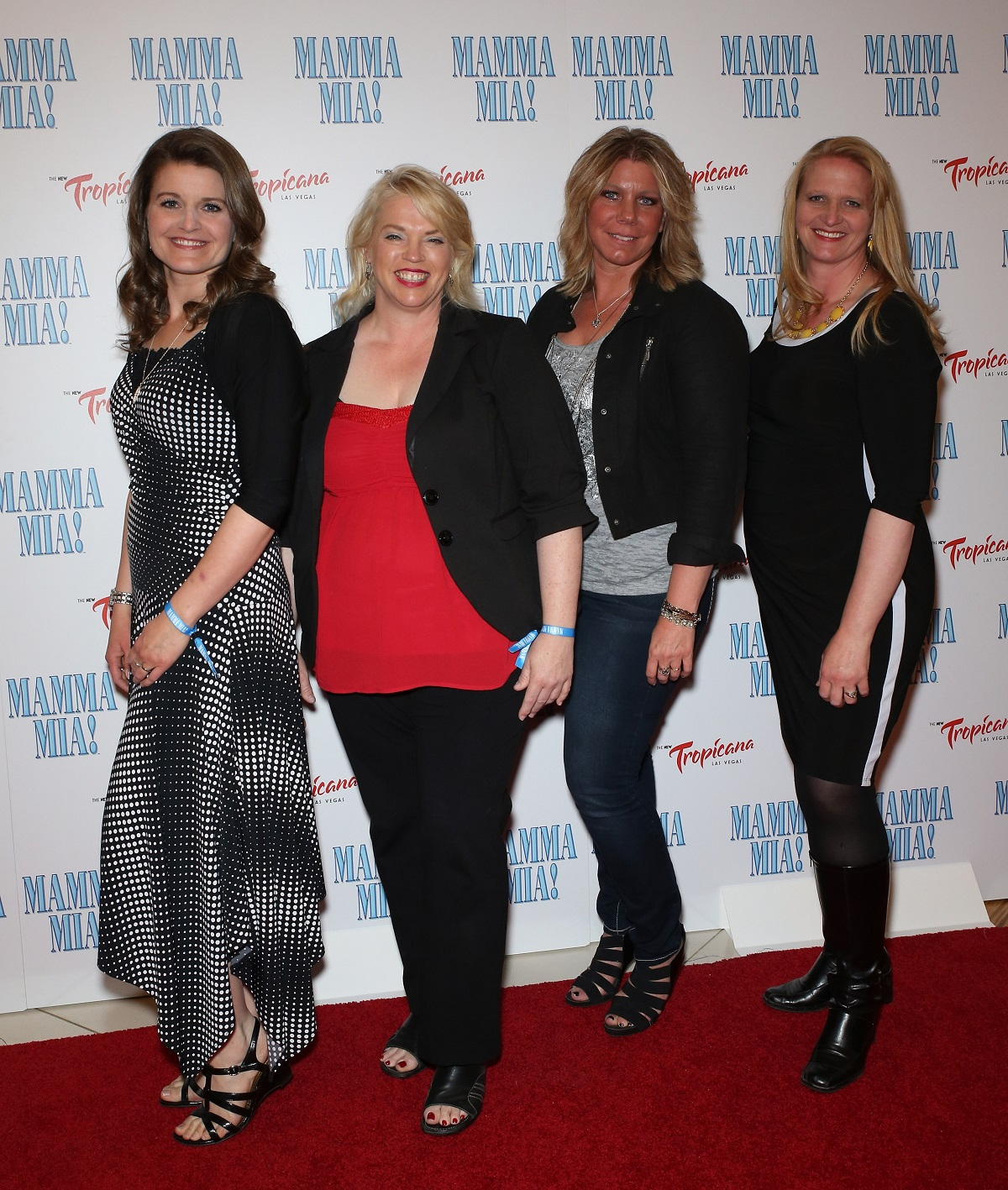 """obyn Brown, Janelle Brown Meri Brown and Christine Brown from """"Sister Wives"""" arrive at the grand opening of the show """"Mamma Mia!"""" at the New Tropicana Las Vegas on May 16, 2014 in Las Vegas, Nevada"""
